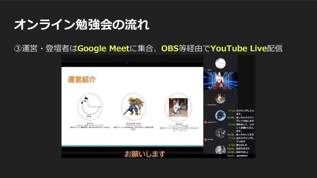 オンライン勉強会の流れ ③運営・登壇者はGoogle Meetに集合、OBS等経由でYouTu...