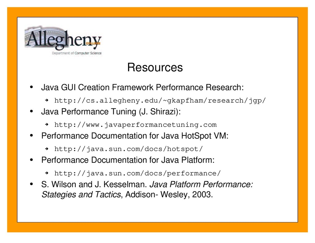 Resources Java GUI Creation Framework Performan...