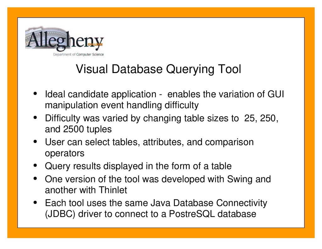 Visual Database Querying Tool Ideal candidate a...