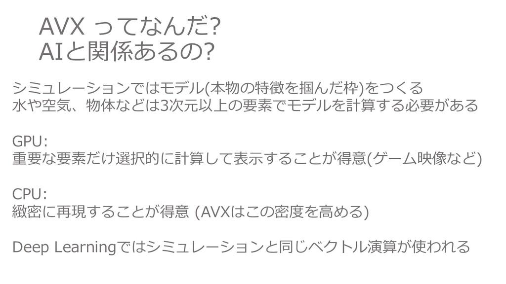 AVX ってなんだ? AIと関係あるの? シミュレーションではモデル(本物の特徴を掴んだ枠)を...