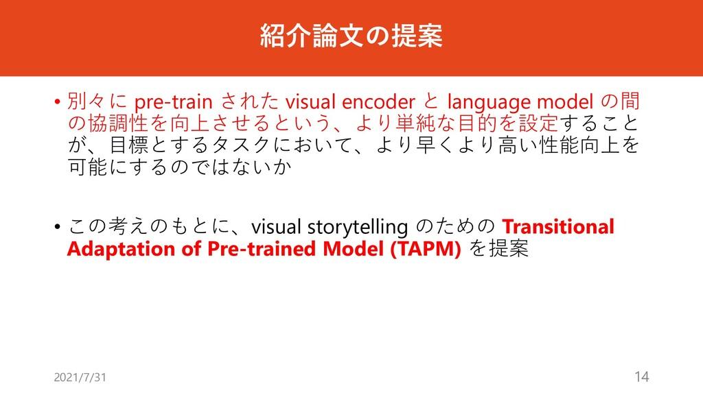 紹介論⽂の提案 • 別々に pre-train された visual encoder と la...