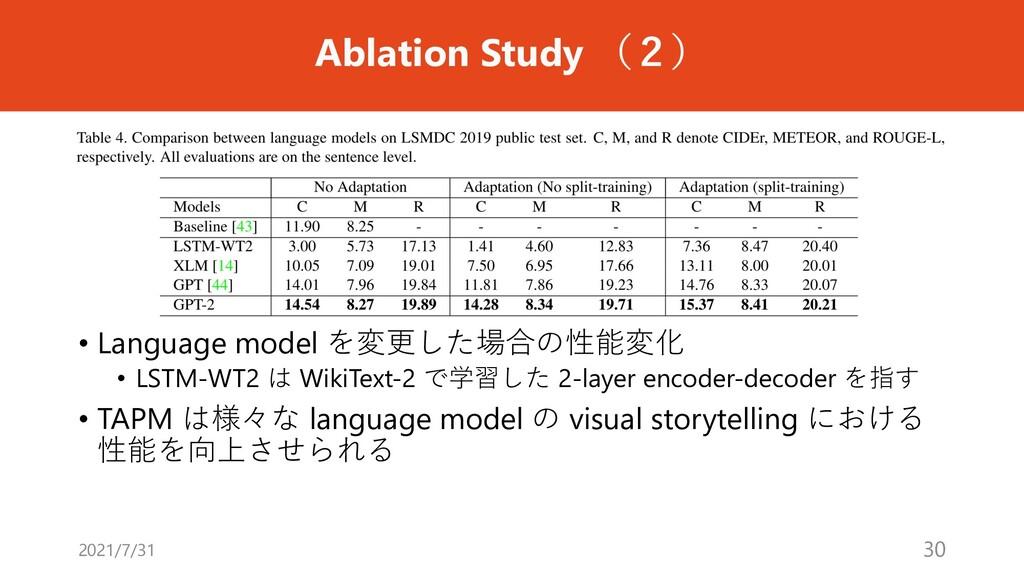 Ablation Study (2) • Language model を変更した場合の性能変...