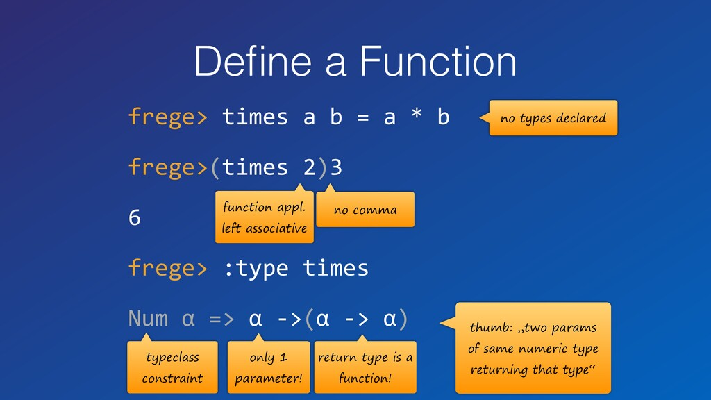 Define a Function frege> times a b = a * b frege...