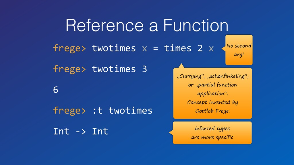 Reference a Function frege> twotimes x = times ...