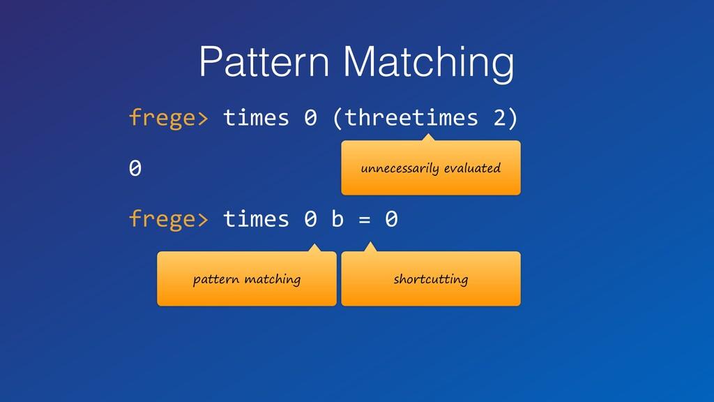Pattern Matching frege> times 0 (threetimes 2) ...