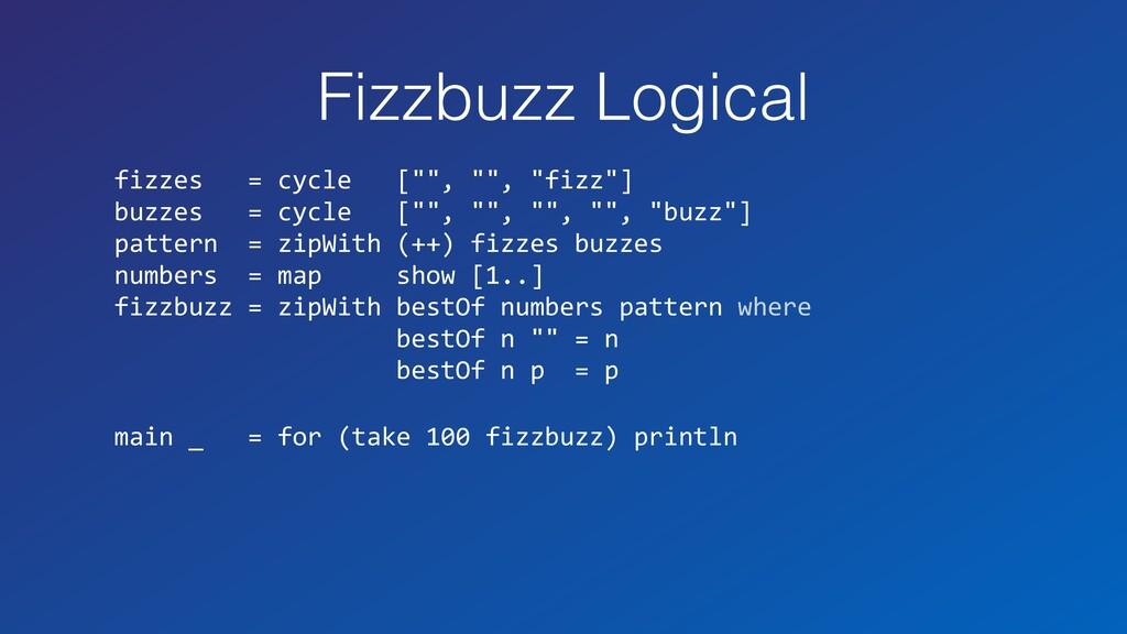 "Fizzbuzz Logical fizzes = cycle ["""", """", ""fizz""..."
