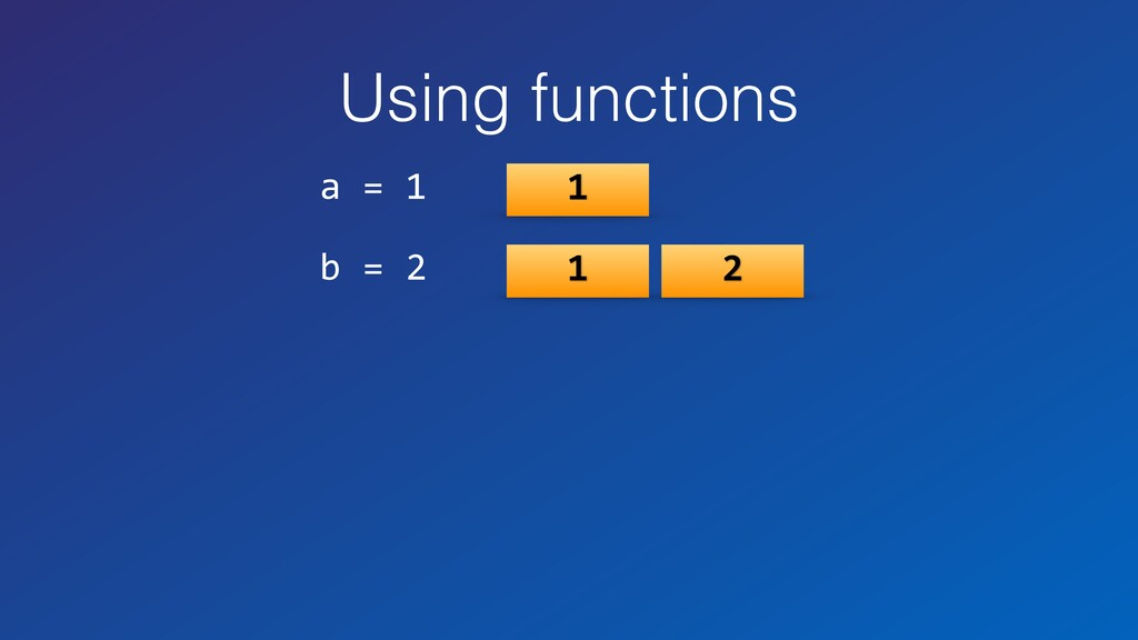 Using functions a = 1 b = 2 1 1 2