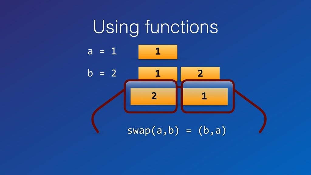 Using functions a = 1 b = 2 1 1 2 2 1 swap(a,b)...