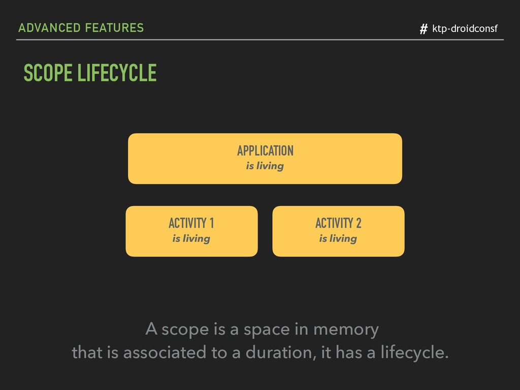 # ktp-droidconsf SCOPE LIFECYCLE APPLICATION
