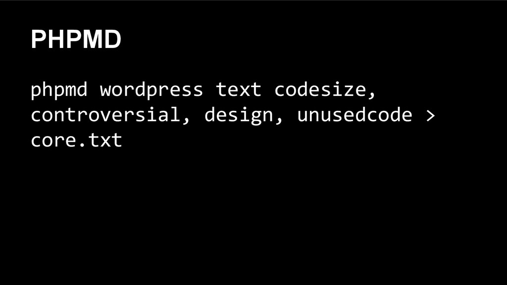PHPMD phpmd wordpress text codesize, controvers...