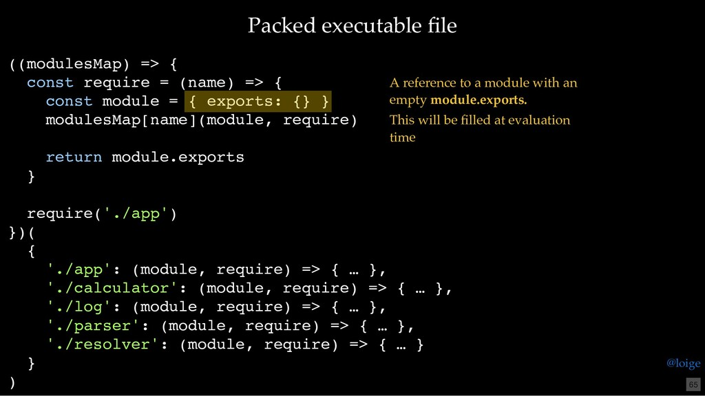 Packed executable file ((modulesMap) => { const ...