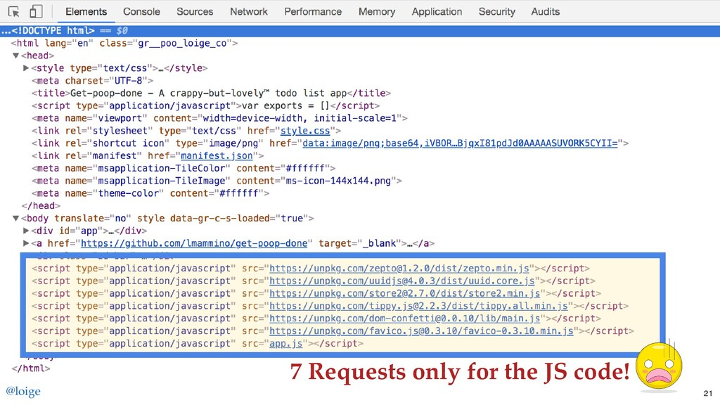 7 Requests only for the JS code! @loige 21