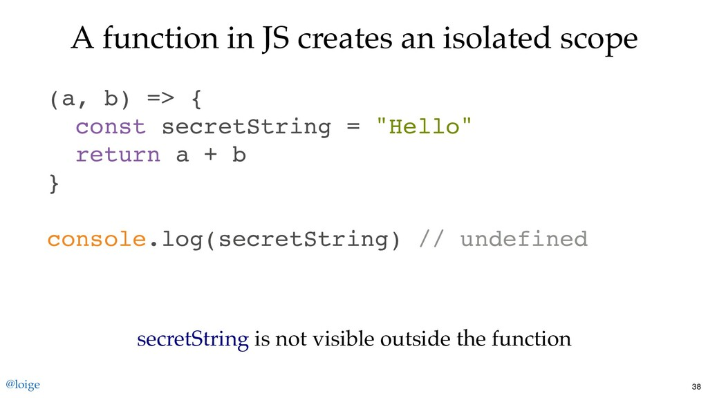 A function in JS creates an isolated scope (a, ...