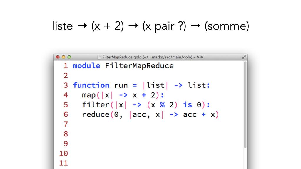 liste → (x + 2) → (x pair ?) → (somme)
