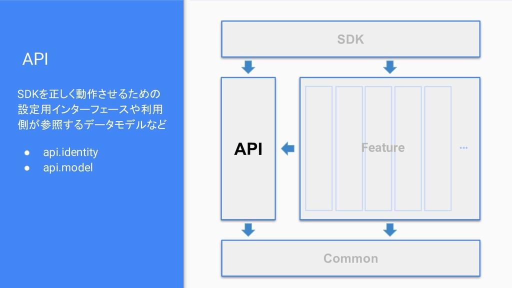 API SDKを正しく動作させるための 設定用インターフェースや利用 側が参照するデータモデル...