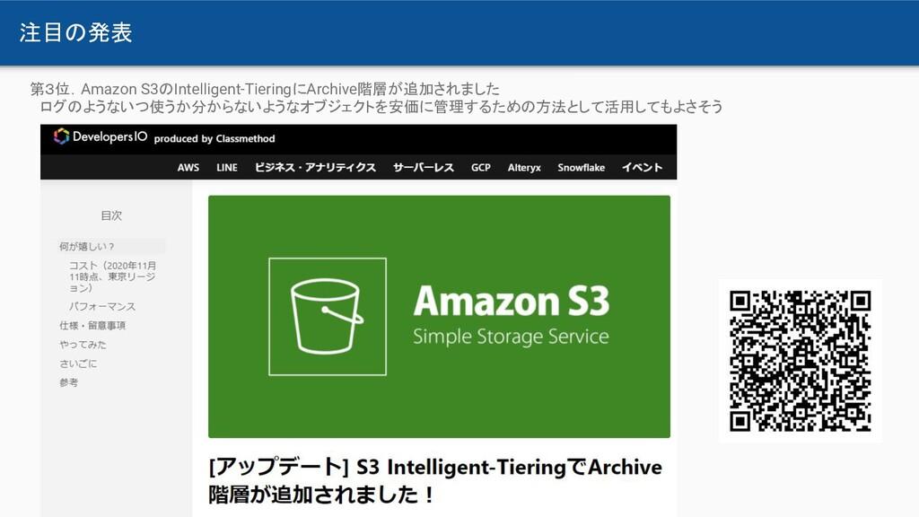 注目の発表 第3位.Amazon S3のIntelligent-TieringにArchive...