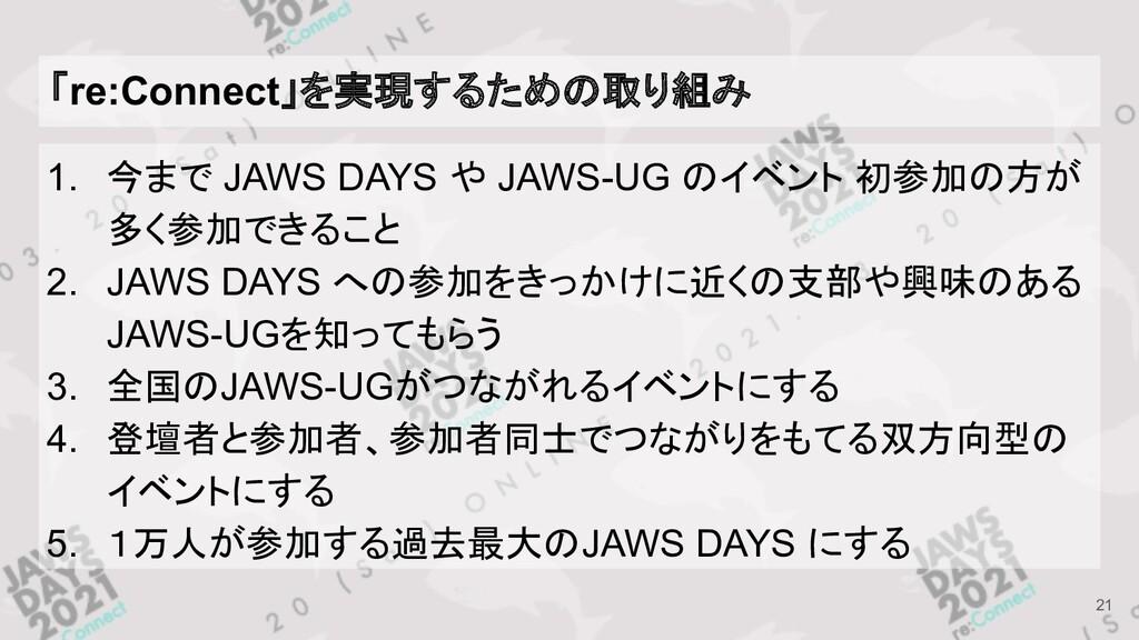 「re:Connect」を実現するための取り組み 1. 今まで JAWS DAYS や JAW...