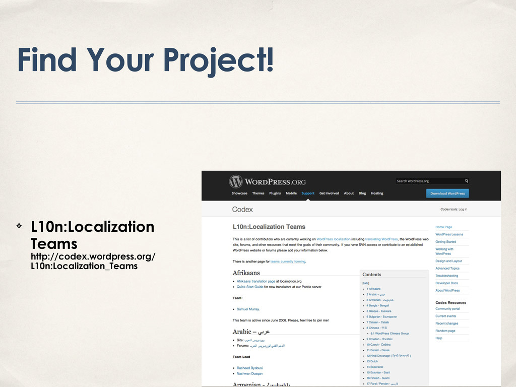 Find Your Project! ❖ L10n:Localization Teams ht...