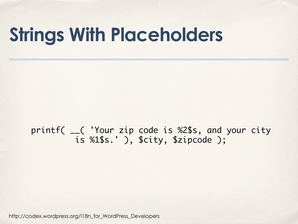 Strings With Placeholders http://codex.wordpres...