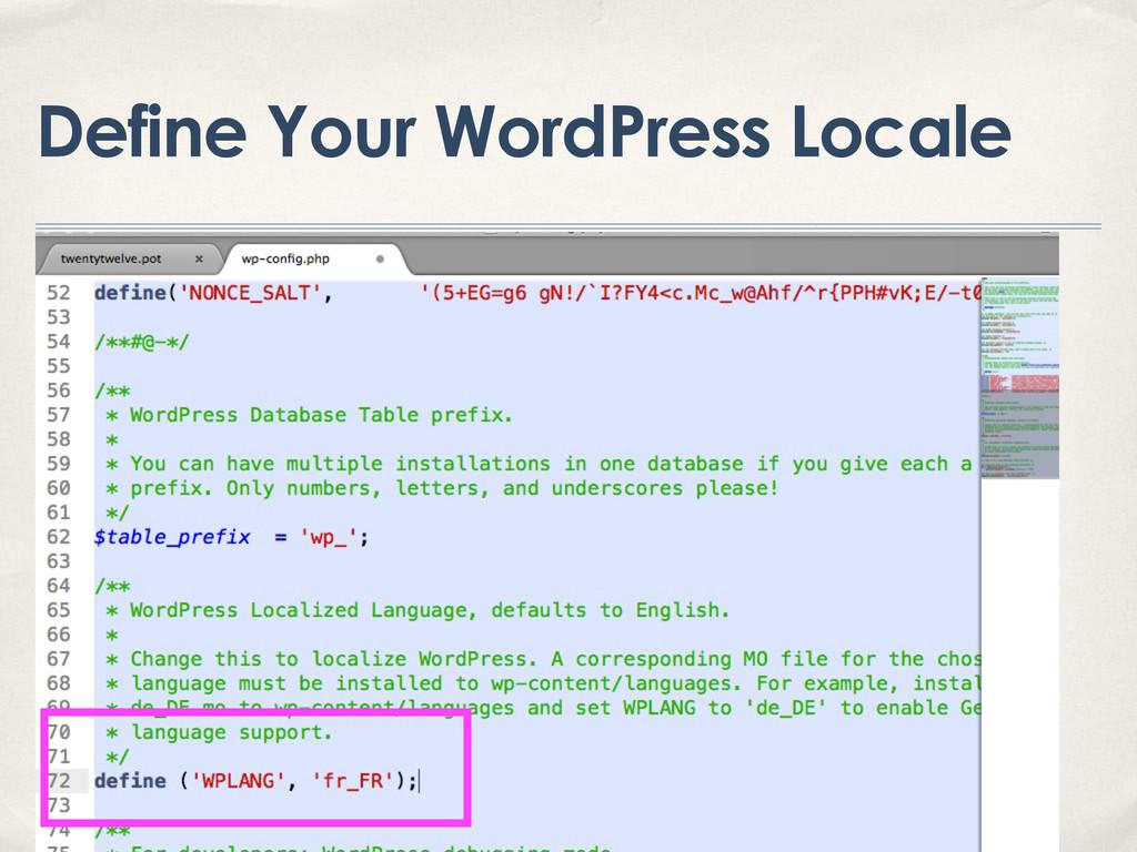 Define Your WordPress Locale