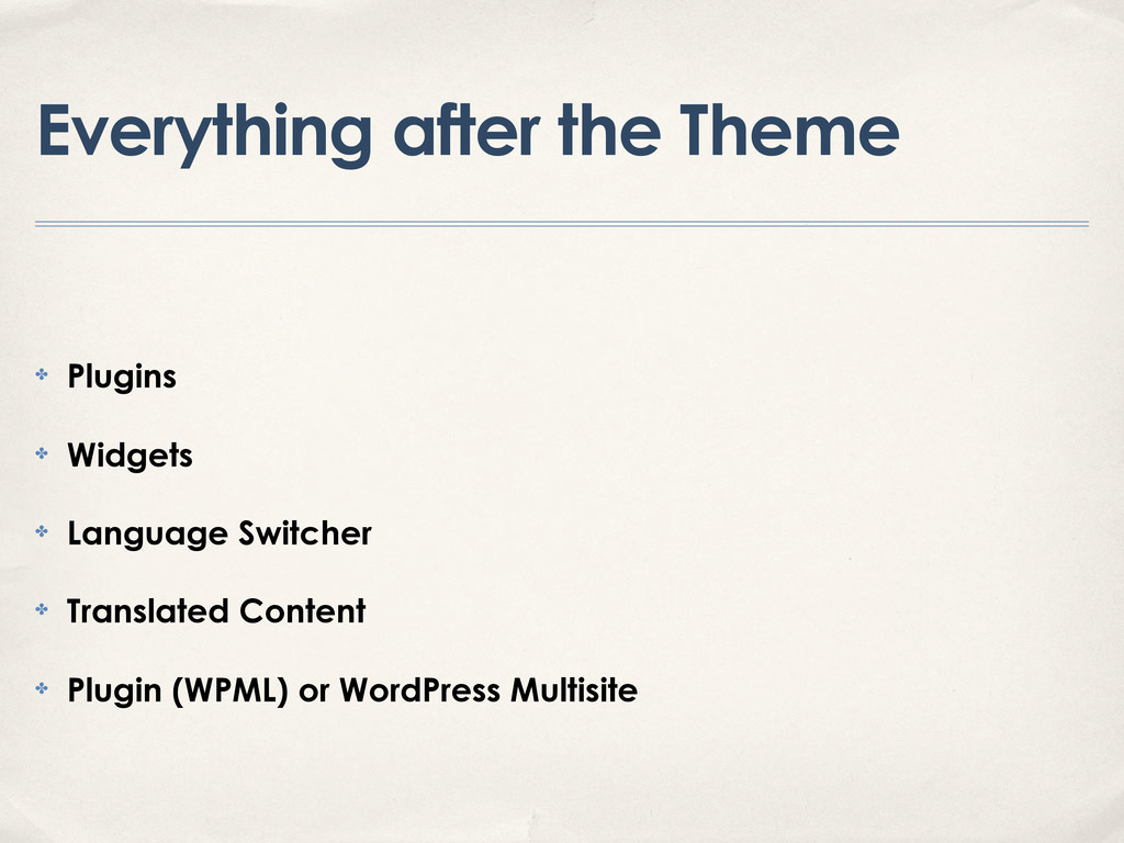 Everything after the Theme ✤ Plugins ✤ Widgets ...