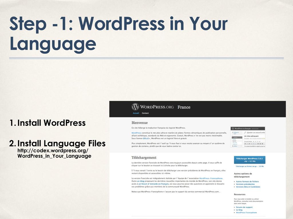 Step -1: WordPress in Your Language 1.Install W...