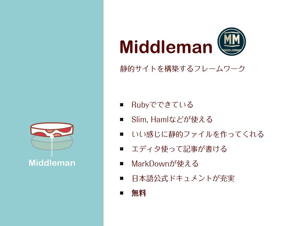 Middleman ੩తαΠτΛߏங͢ΔϑϨʔϜϫʔΫ 3VCZͰͰ͖͍ͯΔ 4MJN)...