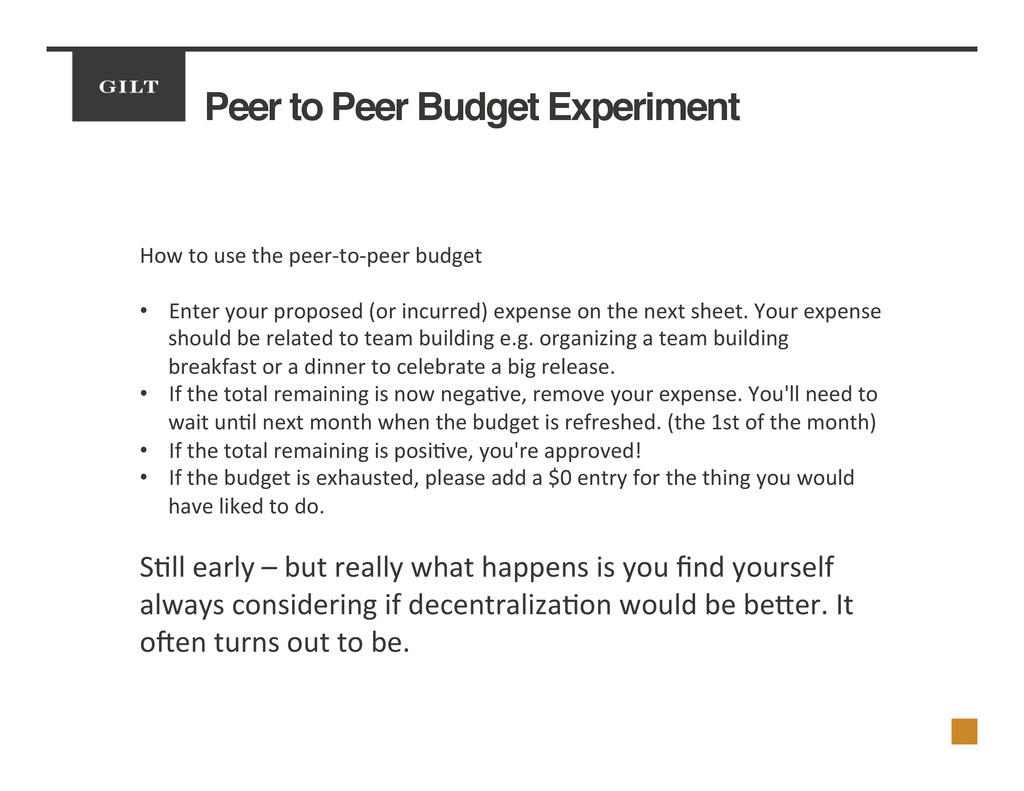Peer to Peer Budget Experiment! How	