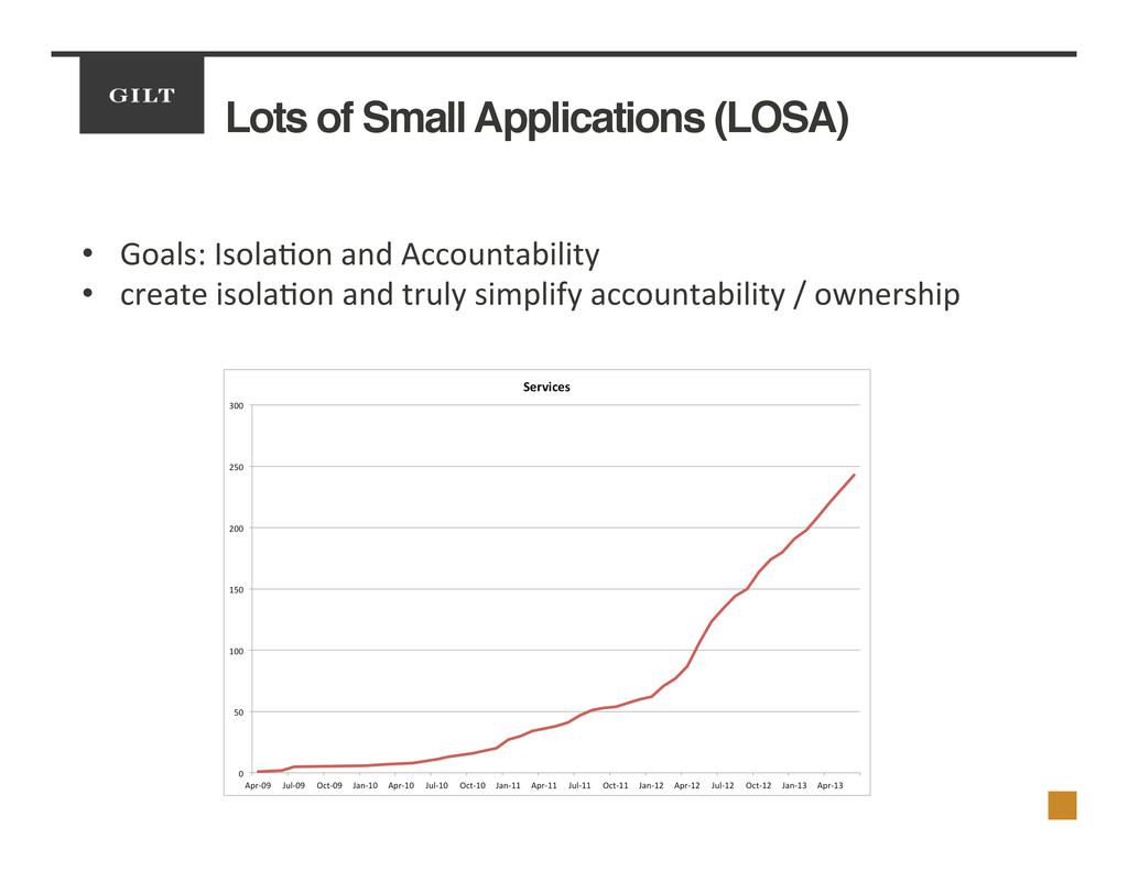Lots of Small Applications (LOSA)! •  Goals:	