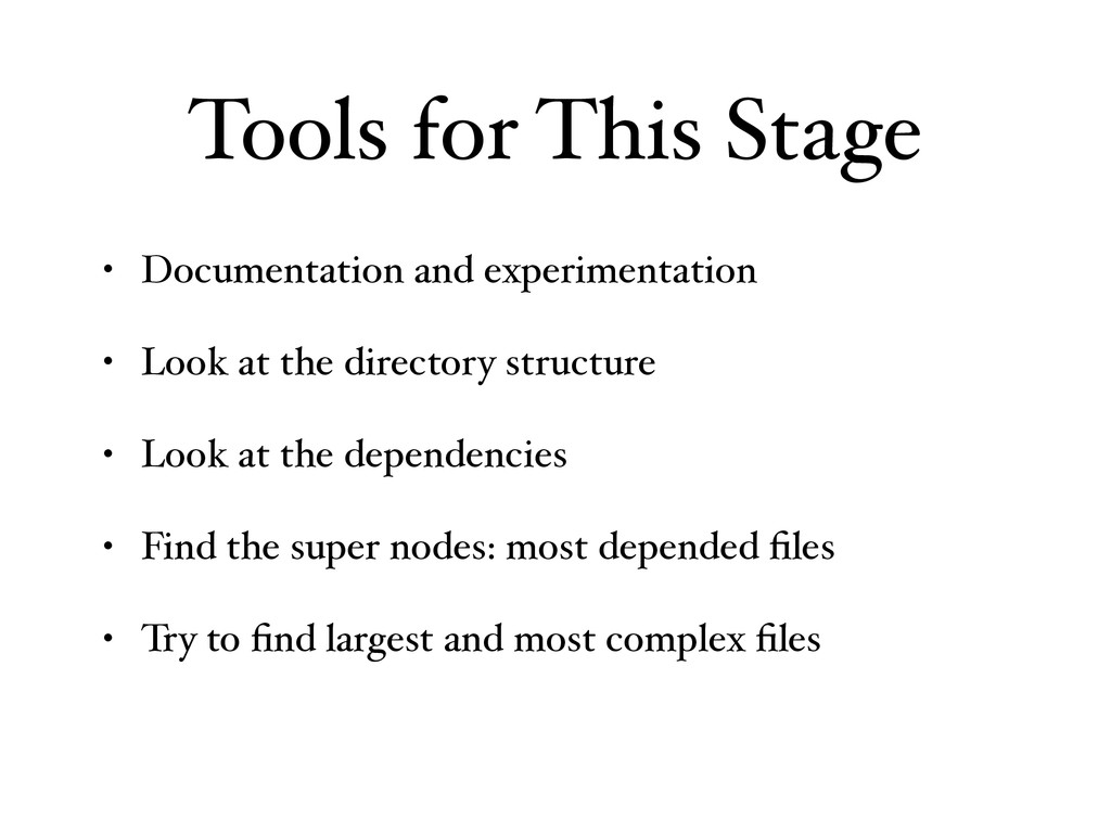 Tools for This Stage • Documentation and experi...