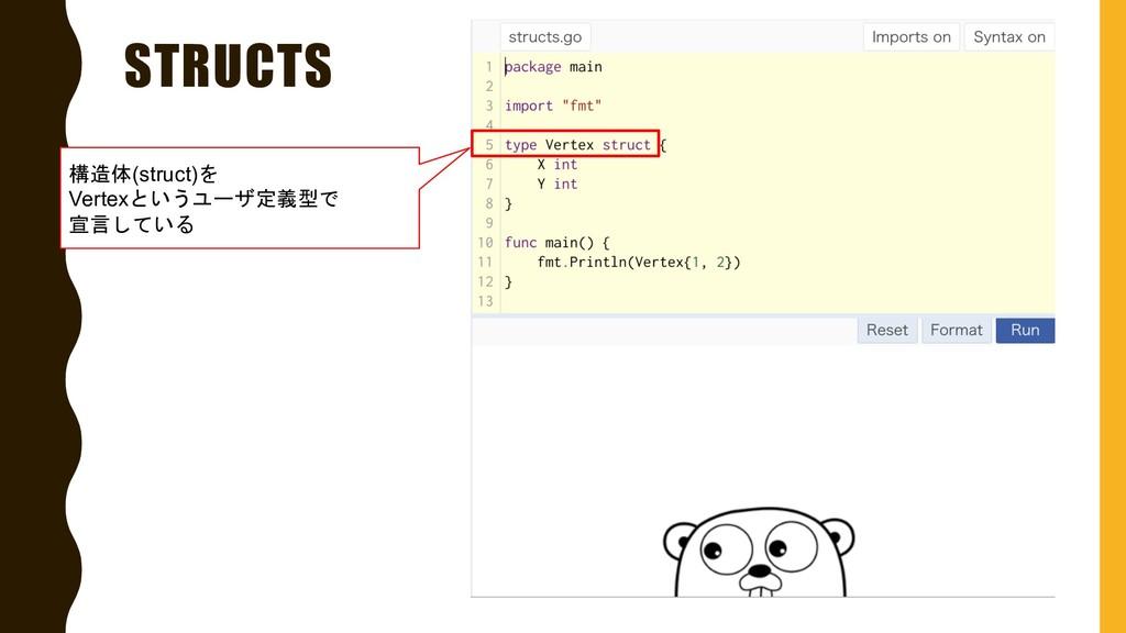 STRUCTS 構造体(struct)を Vertexというユーザ定義型で 宣言している