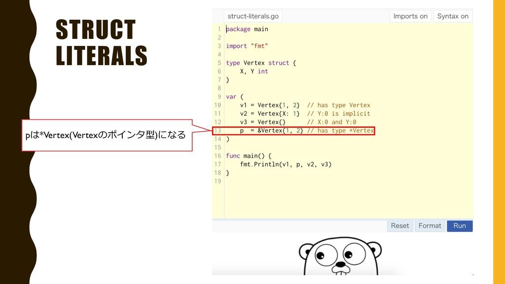 STRUCT LITERALS pは*Vertex(Vertexのポインタ型)になる