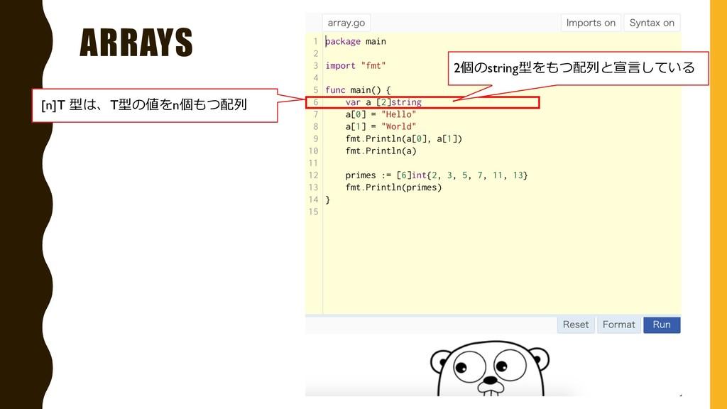 ARRAYS [n]T 型は、T型の値をn個もつ配列 2個のstring型をもつ配列と宣⾔して...