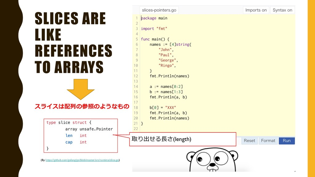 SLICES ARE LIKE REFERENCES TO ARRAYS スライスは配列の参照...