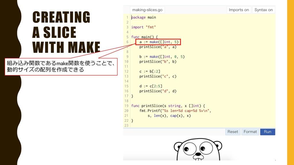 CREATING A SLICE WITH MAKE 組み込み関数であるmake関数を使うこと...