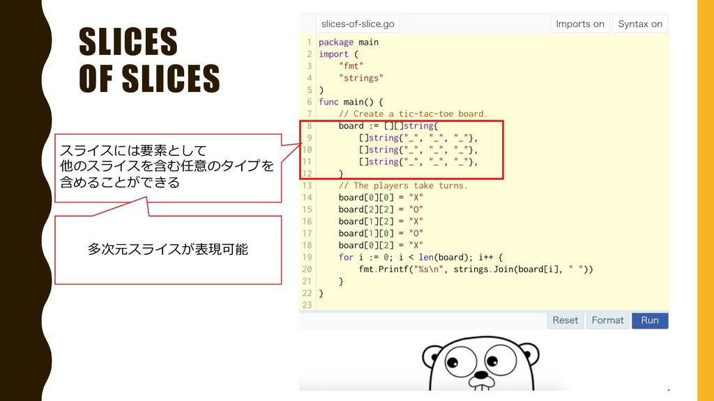 SLICES OF SLICES スライスには要素として 他のスライスを含む任意のタイプを 含...
