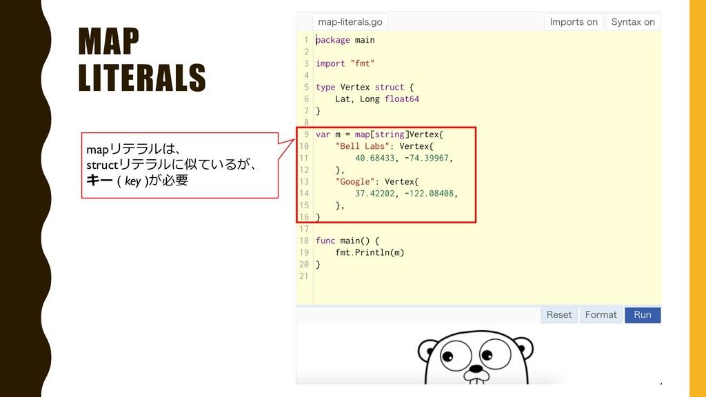 MAP LITERALS mapリテラルは、 structリテラルに似ているが、 キー ( k...