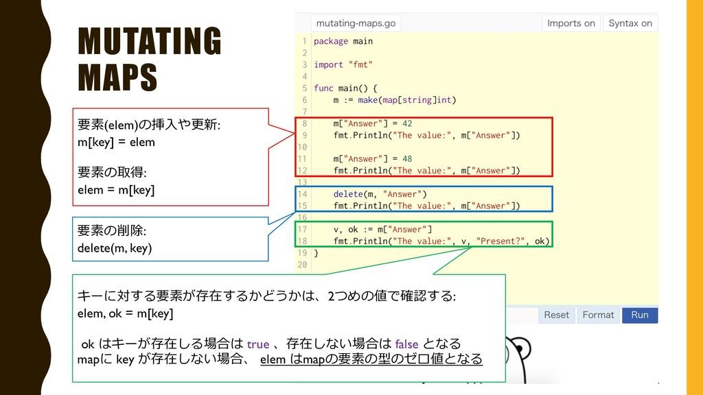 MUTATING MAPS 要素(elem)の挿⼊や更新: m[key] = elem 要素の...