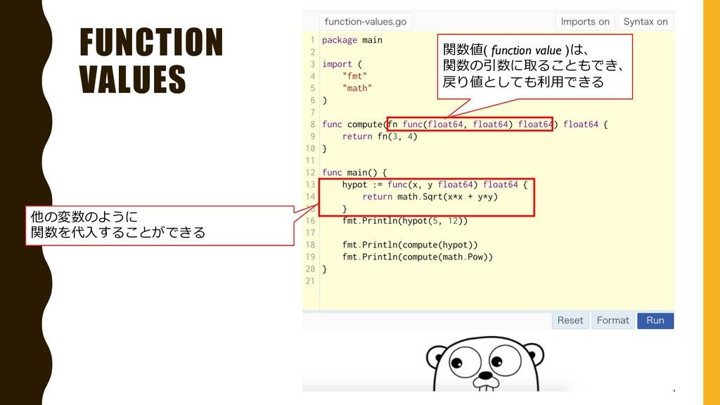 FUNCTION VALUES 他の変数のように 関数を代⼊することができる 関数値( fun...