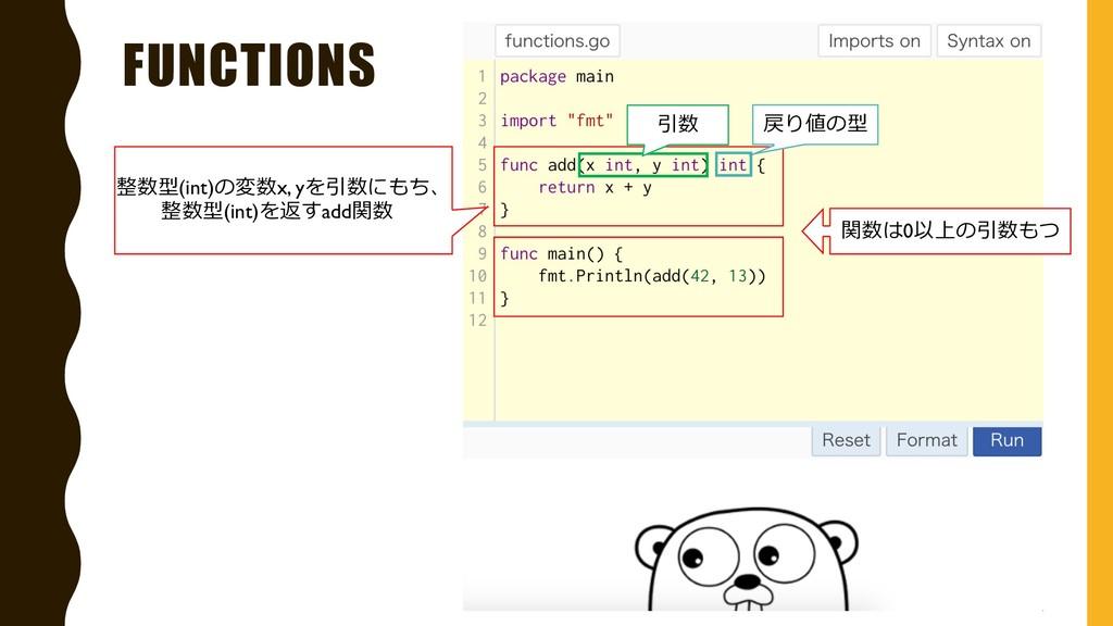 FUNCTIONS 整数型(int)の変数x, yを引数にもち、 整数型(int)を返すadd...