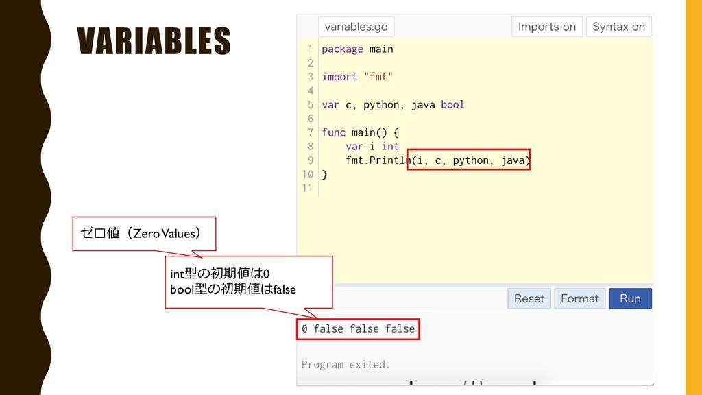 VARIABLES int型の初期値は0 bool型の初期値はfalse ゼロ値(Zero V...