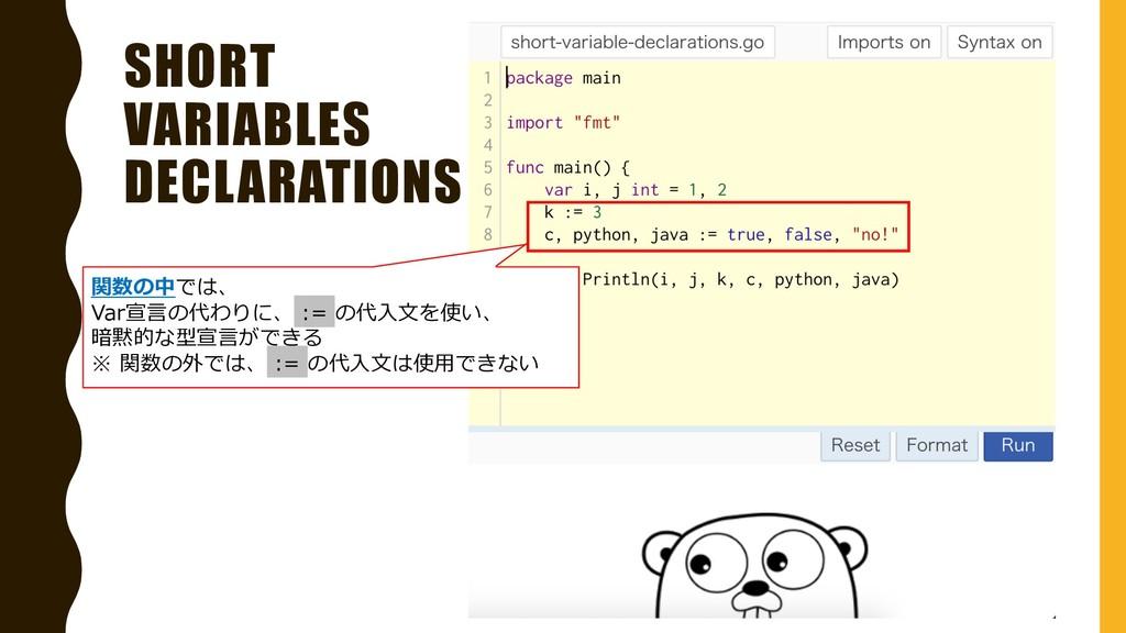 SHORT VARIABLES DECLARATIONS 関数の中では、 Var宣⾔の代わりに...