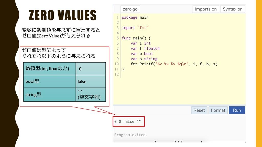ZERO VALUES ゼロ値は型によって それぞれ以下のように与えられる 数値型(int, ...