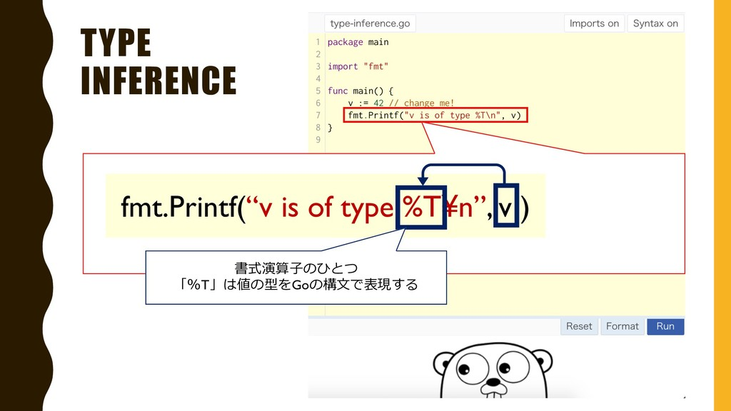 """TYPE INFERENCE fmt.Printf(""""v is of type %T¥n"""", ..."""