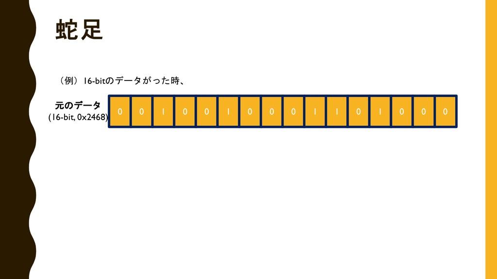 0 0 0 1 0 0 1 0 0 0 1 1 0 1 0 0 (例)16-bitのデータがっ...