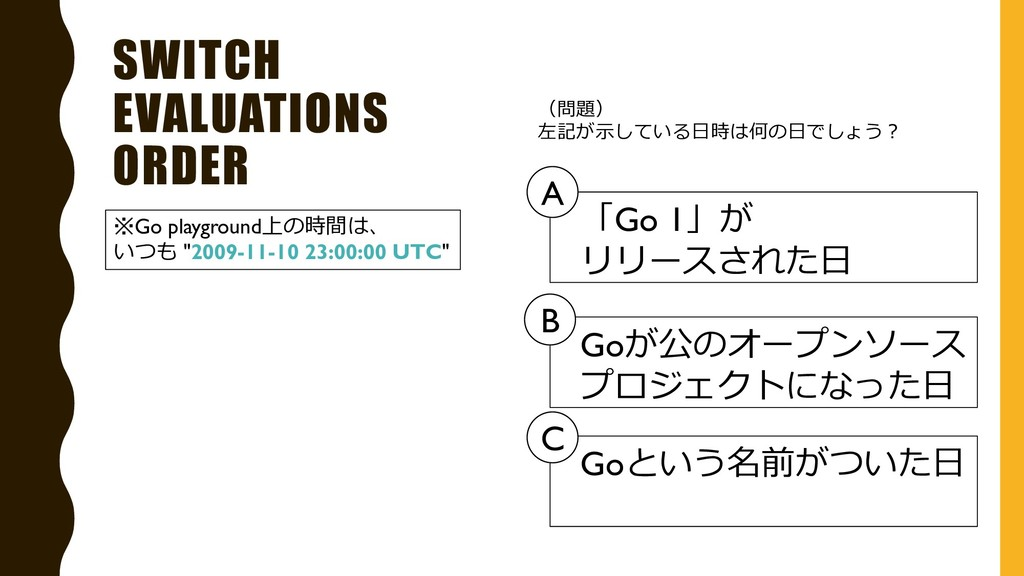 SWITCH EVALUATIONS ORDER ※Go playground上の時間は、 い...