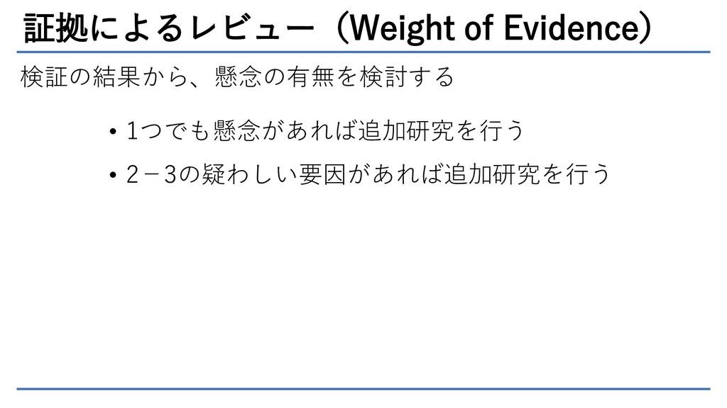証拠によるレビュー(Weight of Evidence) 検証の結果から、懸念の有無を検討す...