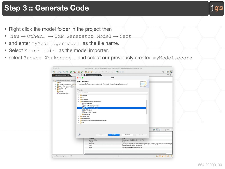 jgs 564 00000100 Step 3 :: Generate Code § Righ...
