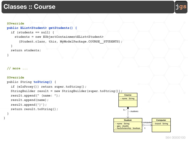jgs 564 00000100 Classes :: Course @Override pu...