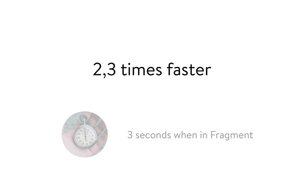 3 seconds when in Fragment 2,3 times faster